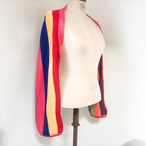 Rainbow Stripe Knit Shrug