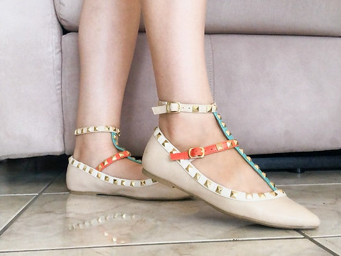 New Nude Colorful Stud Flats