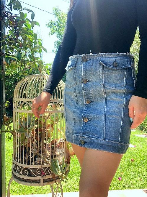Hudson Jeans Denim Button Up Mini Skirt