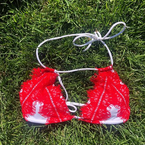 Red Lace Bikini Swim Top