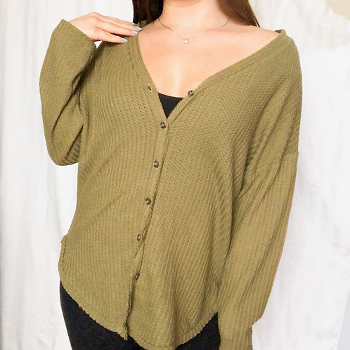 Green Knit Button Cardigan
