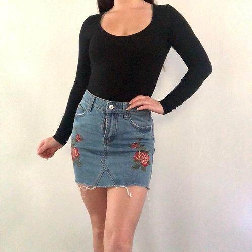 Rose Patch Denim Mini Skirt