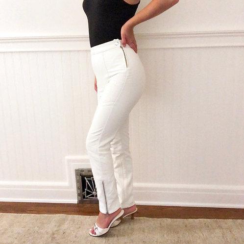 Free People NWT White Vegan Leather Skinny Moto Pants
