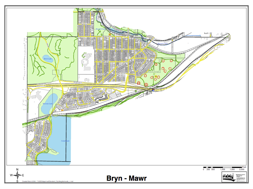 Bryn Mawr Neighborhood Map Streets