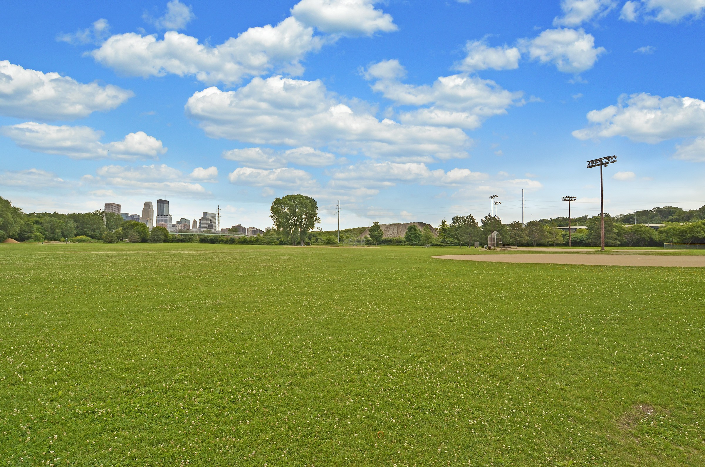 Ball fields in Minneapolis' Bryn Mawr neighborhood