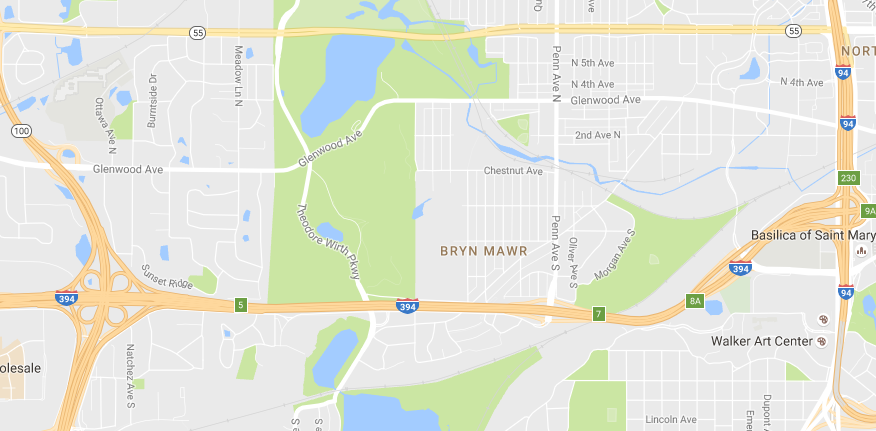 Map of Bryn Mawr neighborhood in Minneapolis