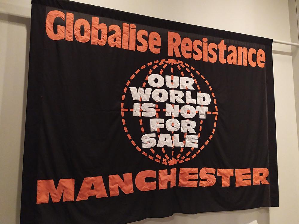 """Global Resistance Manchester"" banner"