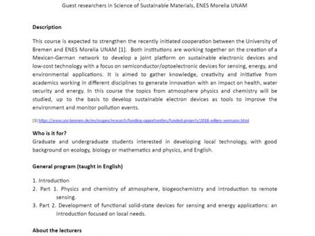INVITATION: Semester Course 2019-2   ENES Morelia UNAM- Uni Bremen