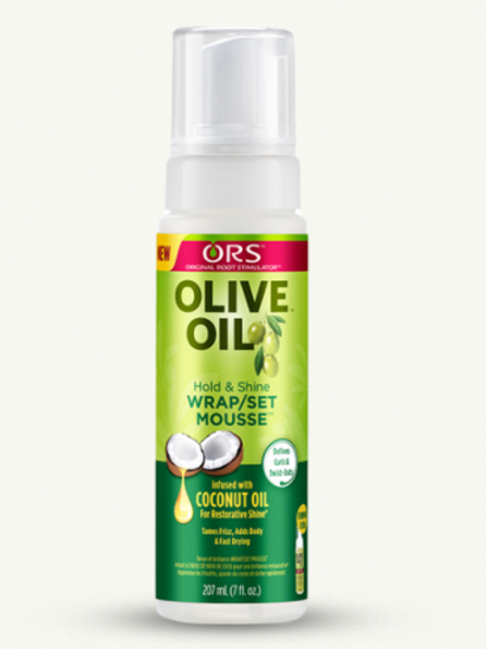 ORS OLIVE OIL HOLD N SHNE WRAP/SET MOUSSE WITH COCONUT OIL 7 OZ