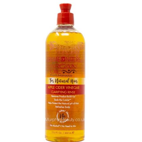 CREME OF NATURE ARGAN oil FOR NATURAL HAIR APPLE CIDER VINEGAR RINSE 15.5 OZ