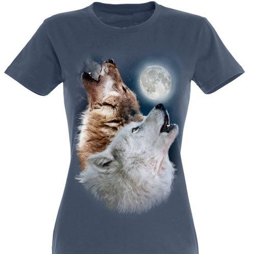 Tee-shirt femme loups lune
