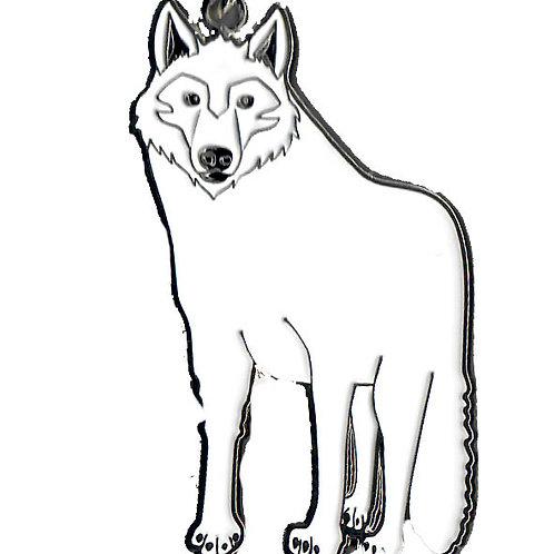 Porte-clés métal - loup blanc