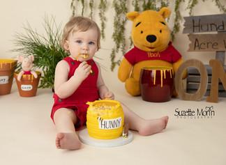 1 year cake smash/Winnie the Pooh/ Suzette Morin Photographer