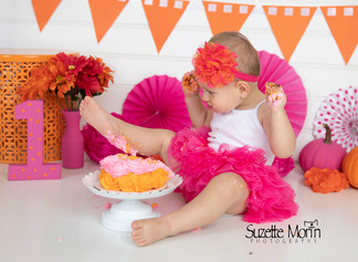 cake smash hot pink and orange