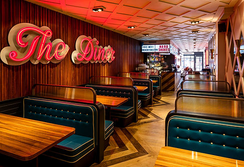 Interior Designers, The dier strand, The Dine, The goodlife group, Banquette seating, Neon signage