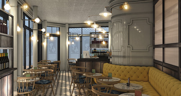 Charles Dickens coffee shop covent garden, design proposal, 3d images