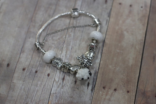 Blackface Sheep/Dog Charm Bracelet-Silver Tone