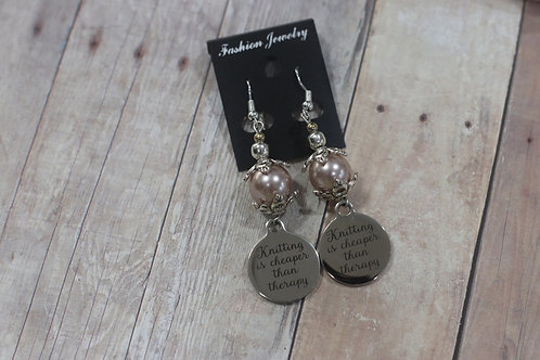 Knitting is Cheaper Then Therapy-Pearl Earrings
