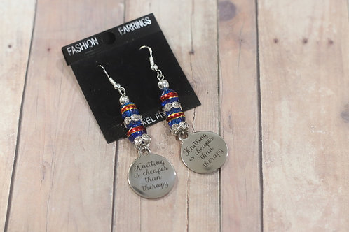 Knitting is Cheaper Then Therapy Earrings