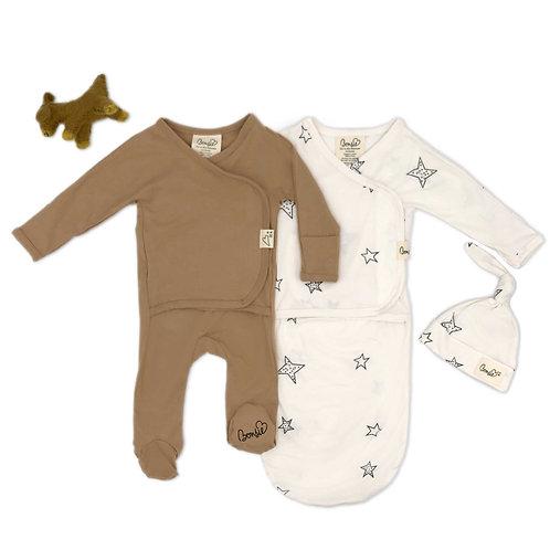 Baby Bundle - Mocha Footie & Star Bag Set Twin Pack