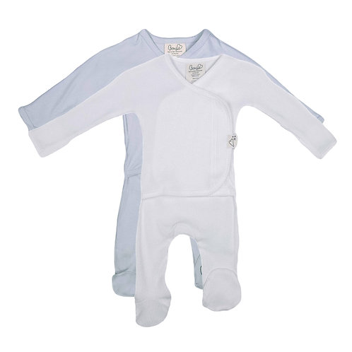 Baby Bundle - Mist & White Waffle Footie Twin Pack
