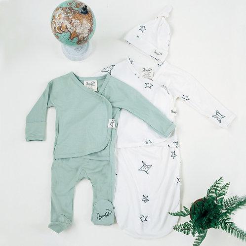 Baby Bundle - Avocado Footie & Star Bag Set Twin Pack