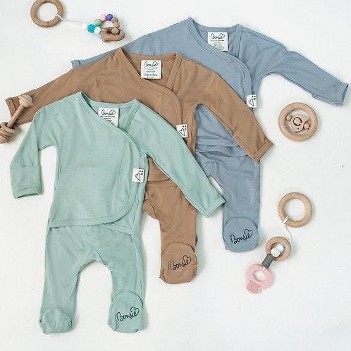 Baby Bundle Footie - Fog, Mocha & Avocado Triple Pack