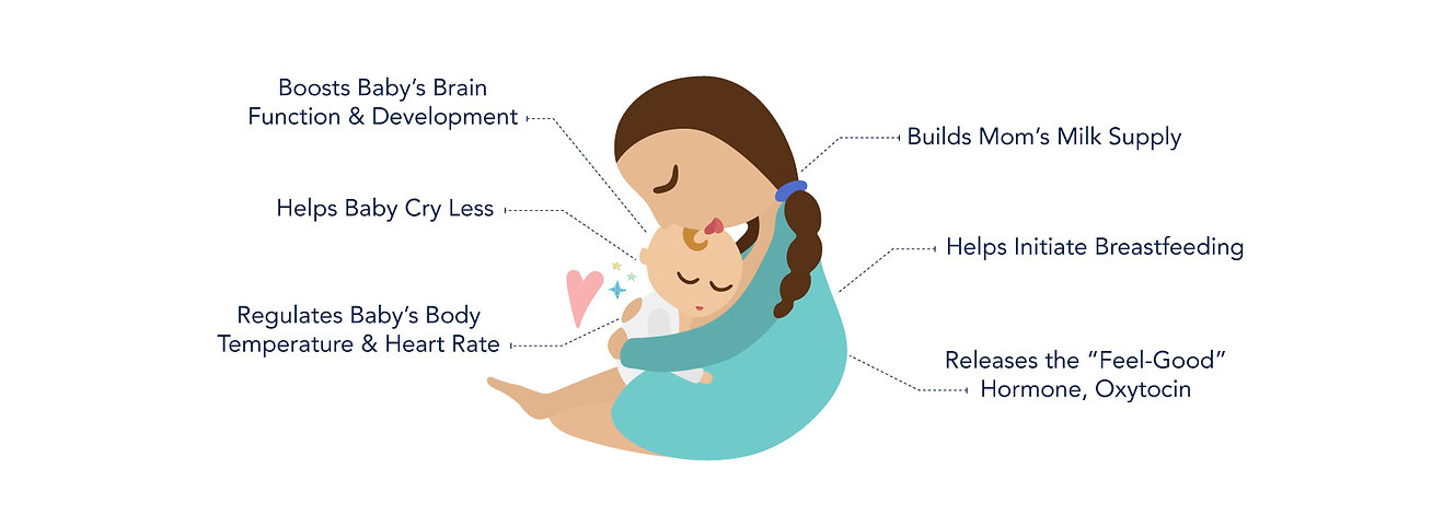 Mom and Baby Graphic: Benefits of Skin to Skin Connection include: Boosts Baby's Brain Development, Builds Mom's Milk Supply, Helps Initiate Breastfeeding, Helps Baby Cry Less, Regulates Temperature and Heart Rate, Releases Oxytocin
