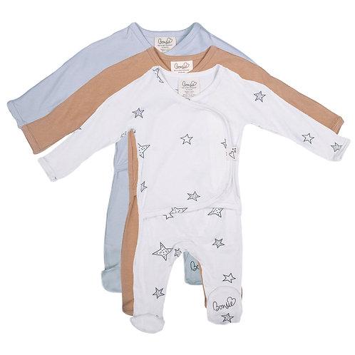 Baby Bundle - Star, Mocha & Mist Footie Triple Pack