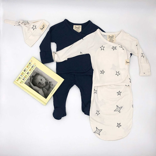 Gift Pack - Midnight Blue Footie, Star Bag Set with Book (SPANISH)