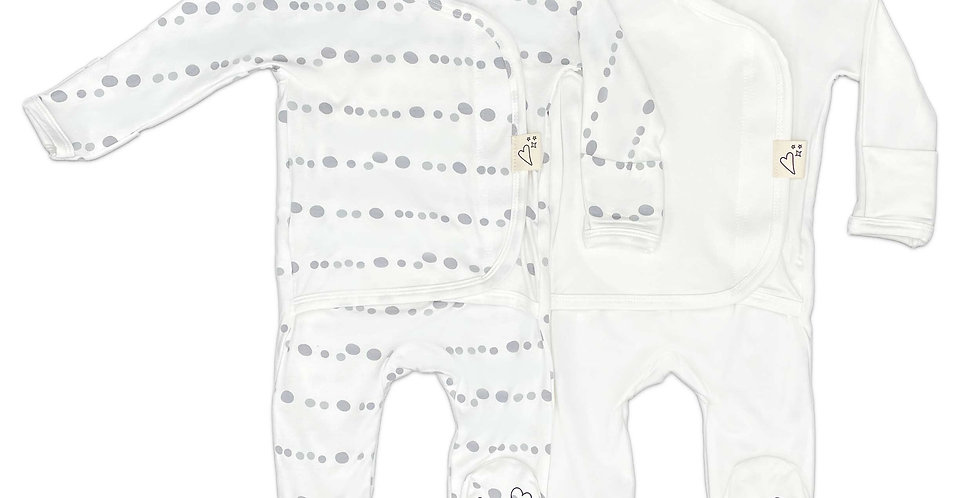 Baby Bundle Footie - Skipping Stones & Milk Twin Pack
