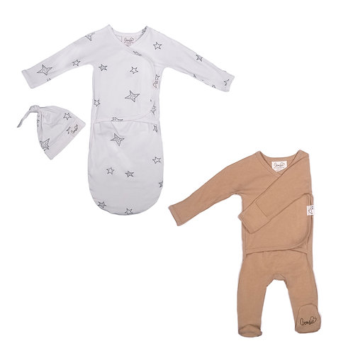 Baby Bundle - Star Bag Set & Mocha Footie