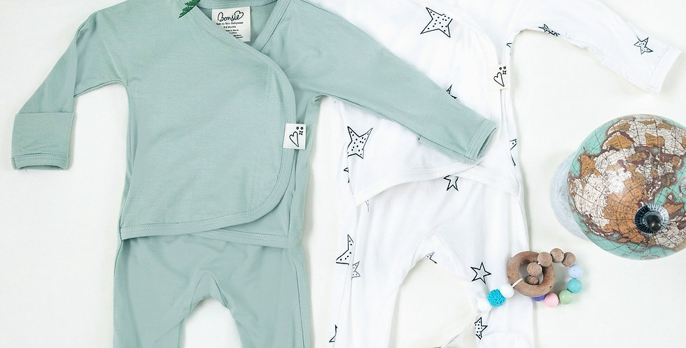Baby Bundle Footie - Avocado & Star Twin Pack