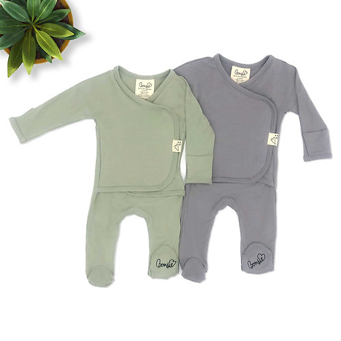 Baby Bundle Footie - Avocado & Fog Twin Pack