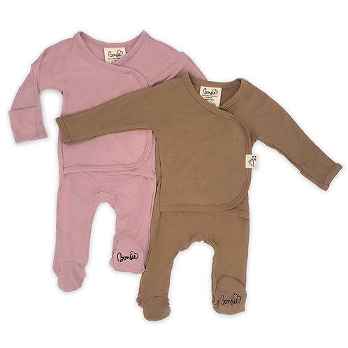 Baby Bundle Footie - Peony & Mocha Twin Pack