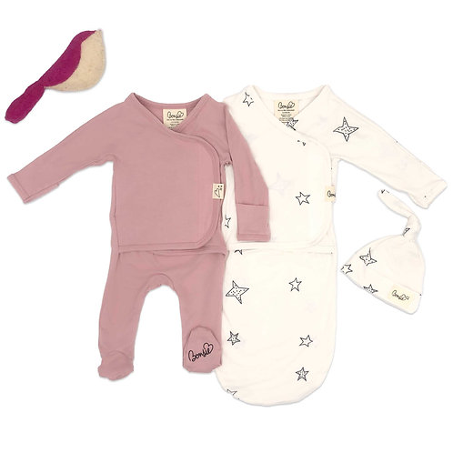Baby Bundle - Peony Footie & Star Bag Set Twin Pack