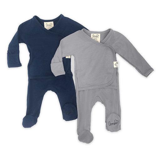 Baby Bundle Footie - Midnight Blue & Fog Twin Pack