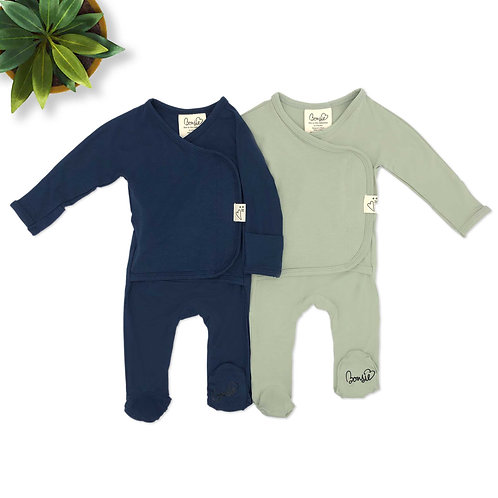 Baby Bundle Footie - Midnight & Avocado Twin Pack