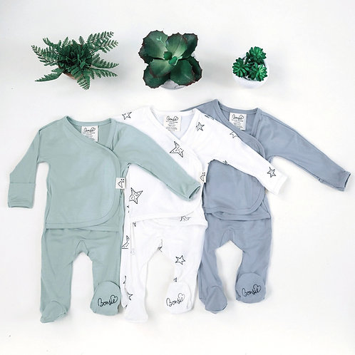 Baby Bundle Footie -  Avocado, Star & Fog Triple Pack