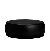 0-LXOB - Round Leather Ottoman - Black.p