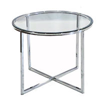 0-RGST - Retro Round Glass Side Table -
