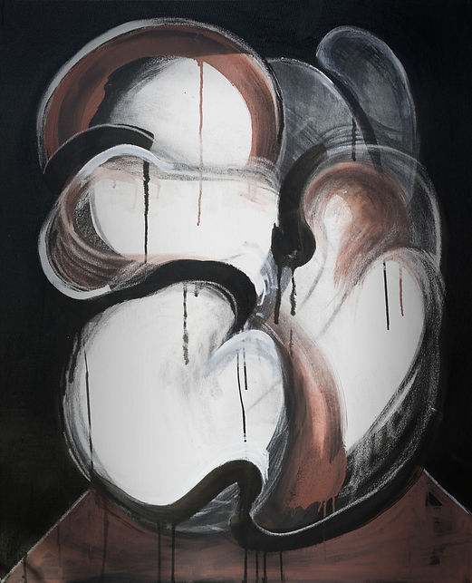 An abstract painting of a female form, by Indonesian artist Naomi Samara. Contemporary art.