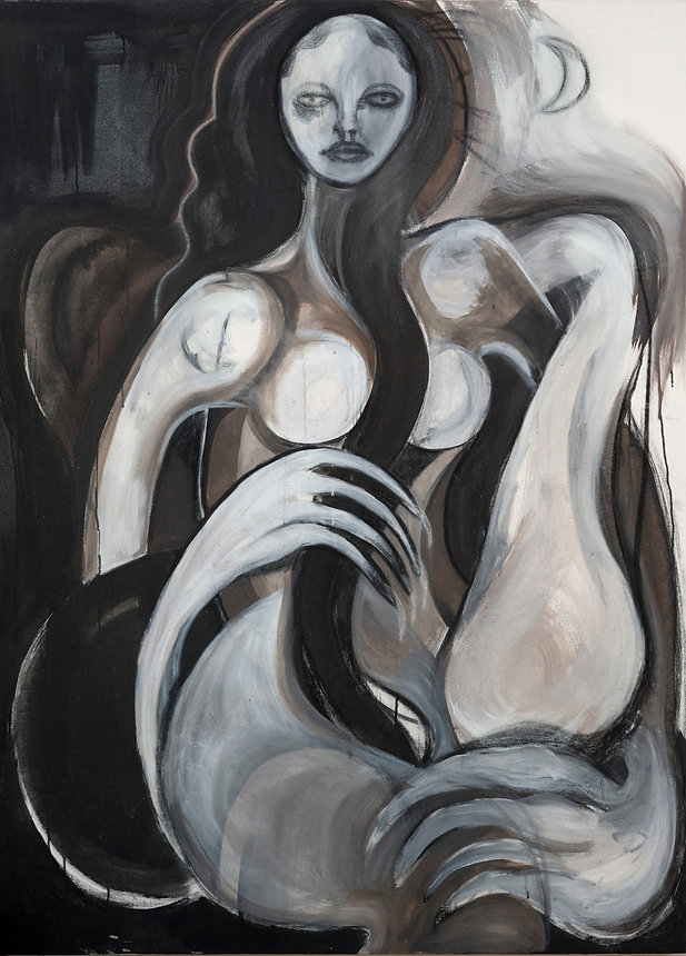 Painting of a woman by Indonesian contemporary artist Naomi Samara. Online exhibition.