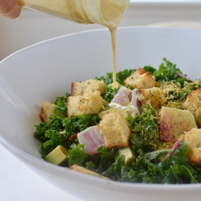 Kale Caesar Salad with Herb Croutons