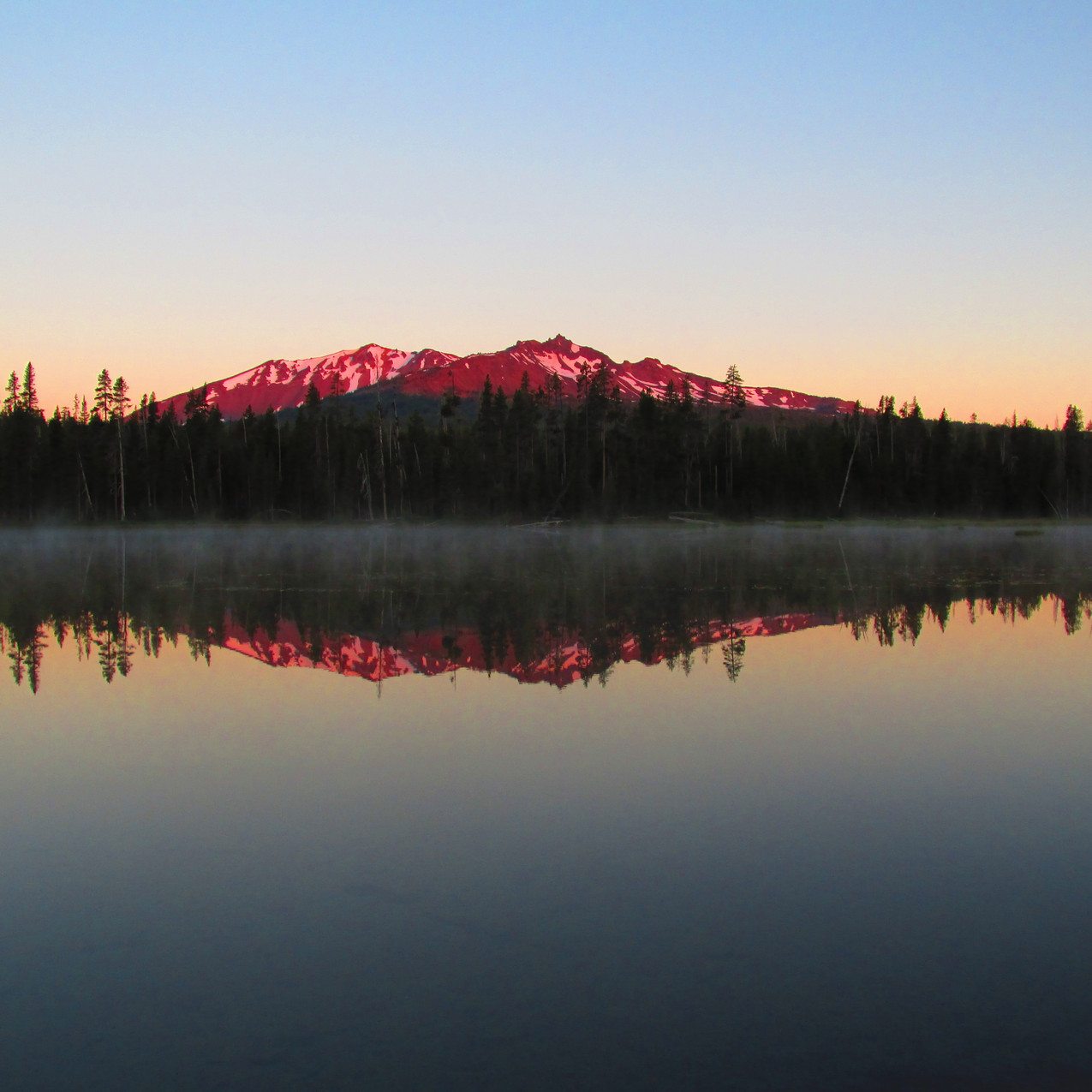 I don't remember where I took this picture, but loved the reflections and alpenglow.