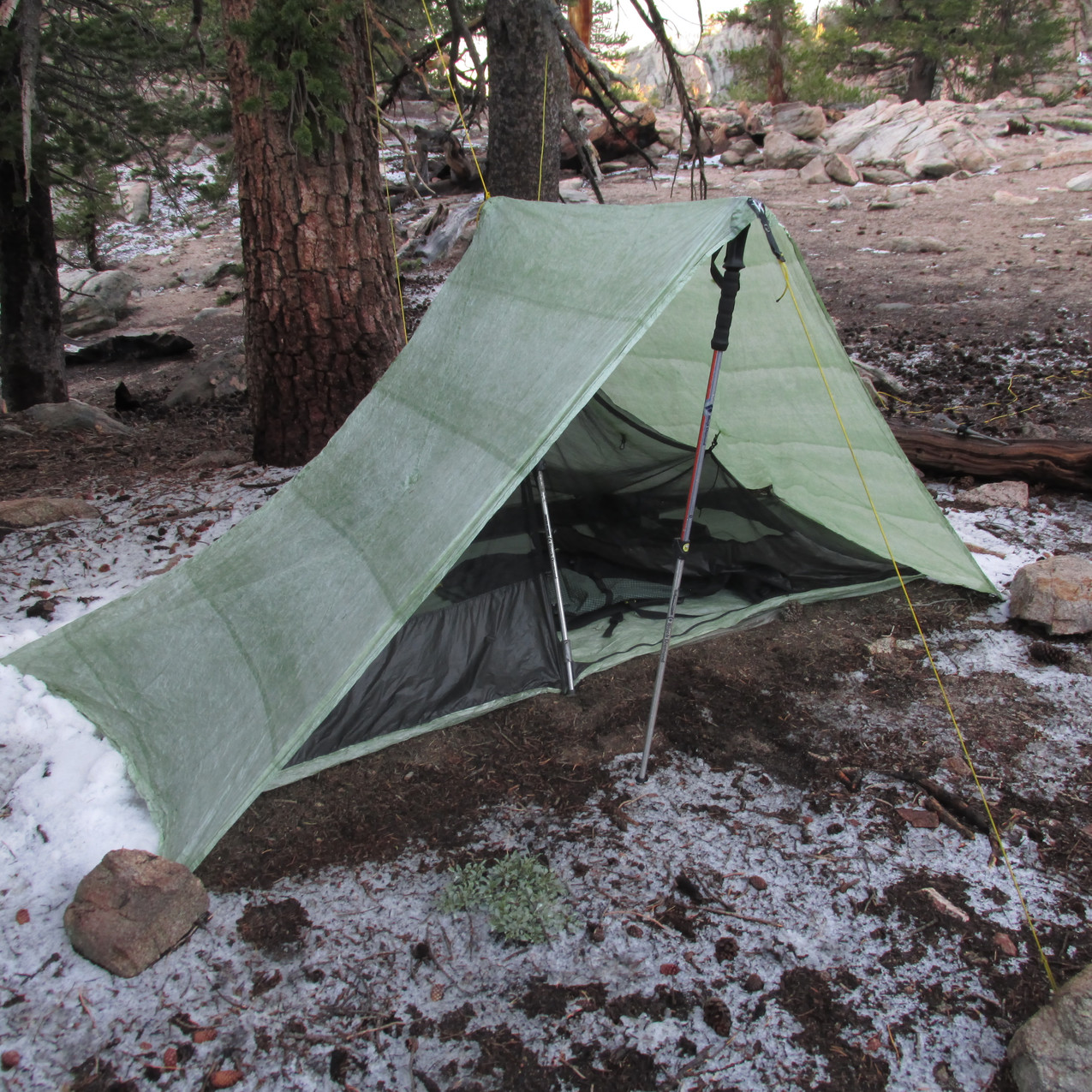 My tent survived three hail storms in one night.  It kind of looks like snow on the ground, but those are hail stones.