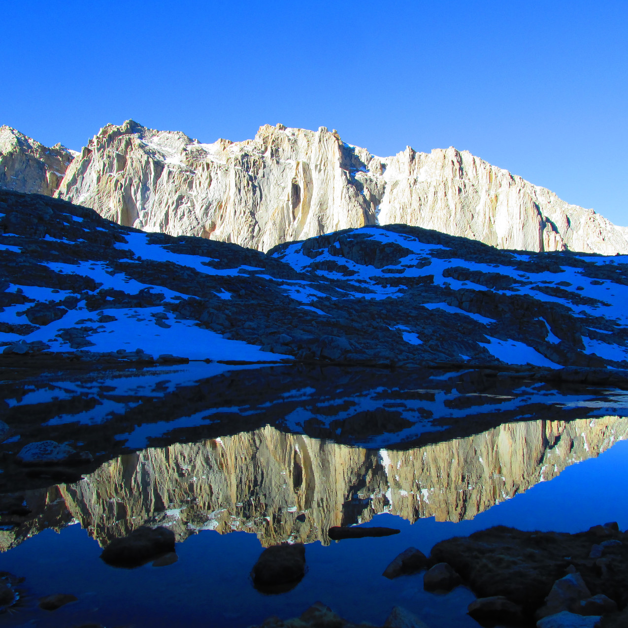 On the way up to the summit of Mt. Whitney, I got some nice reflections in the lake.