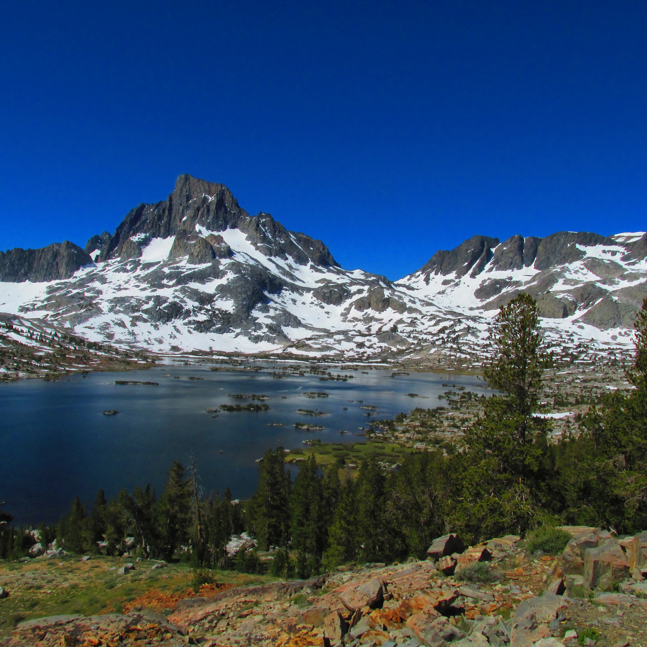 One of several lakes I hiked past on the John Muir Trail.