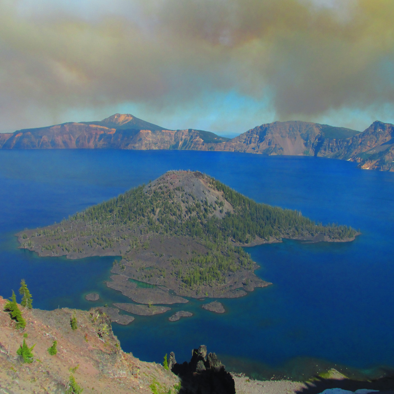 Our views of Crater Lake were different from most people due to the smoke.