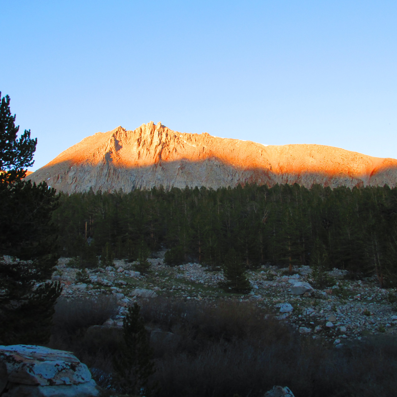 I looked forward to seeing alpenglow in the Sierras.  This was my first glimpse.
